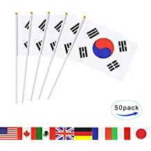 South Korea Stick Flag,TSMD 50 Pack Hand Held Small Korean National Flags On Stick,International World Country Stick Flags Banners,Party Decorations For World Cup,Sports Clubs,Festival Events