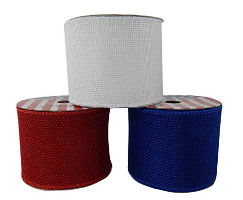 Assortment (Pack of 3) Wired Red White Blue Fabric 2 1/2 Inch Wide Ribbon Rolls - Each 3 Yards Long (Solid Burlap)