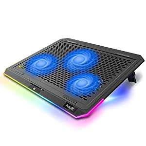 havit RGB Laptop Cooling Pad for 15.6-17 Inch Laptop with 3 Quiet Fans and Touch Control, Pure Metal Panel Portable Cooler (Black+Blue)