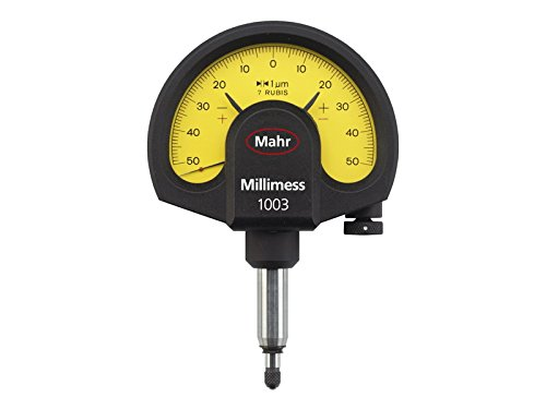 Mahr Federal 4334000 1003 Millimess Mechanical Dial Comparator, ±50 μm Range, 1 μm Resolution, 8 mm Stem, Yellow - Federal Dial Indicator