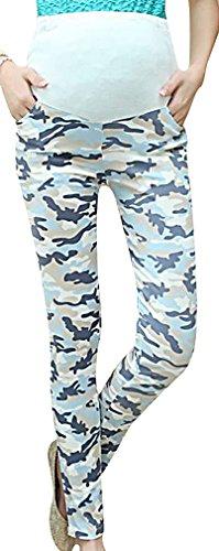 US&R Women's Colorful Camouflage Maternity Secret Fit Belly Long Pencil Pants, SkyBlue 8 ,Manufacturer(XL)