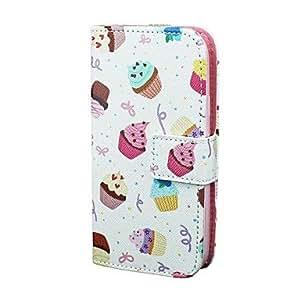 WQQ patrón de la torta del helado de la PU cuero de la cubierta del caso de cuerpo completo para Samsung s3 i9300