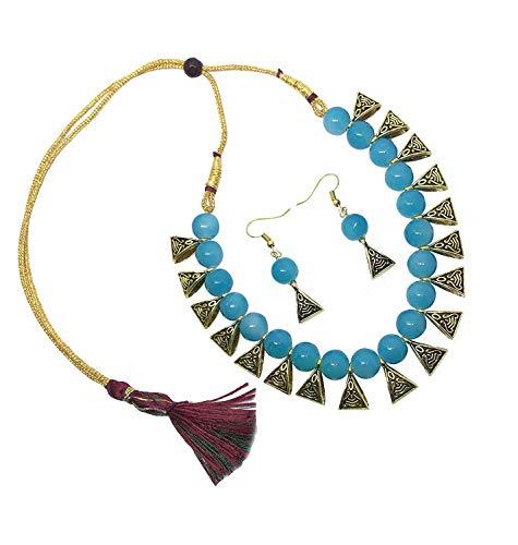 Efulgenz Boho Indian Oxidized Faux Pearl Beaded Vintage Tribal Statement Choker Necklace Earrings Jewelry Set ()