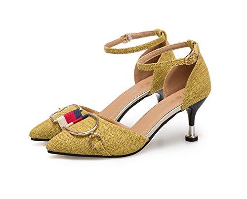 Stiletto A Yellow Tacchi Donna 38 Celebrity Scarpe Wind Nvxie Da Primavera 34 Alti Punta Estate Moda P5gx4qZ