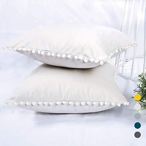 YINFUNG Pom Pillow Covers Cream Velvet Throw Pillow Cover 18x18 Pompom Tassel Fringe Decor Boho Pillow Cases Off White Ivory Couch Sofa Toss Pillow Cover Cute Girls Adorable Bed Set of 2 ()