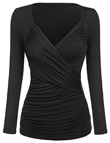 Women's Ruched Top Blouse, long Sleeve Cross Front V Neck Empire Waist T-Shirt (XX-Large, Black)
