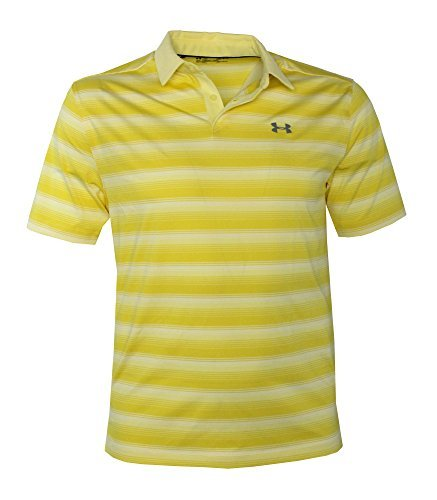 Under Armour Men's Performance Golf Polo CoolSwitch Shirt Striped Top (Yellow, L) (Yellow Striped Polo)