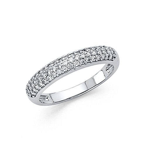 Size 8.5 - 3mm Solid 14K White Gold Round Cut Pave Set Wedding Band Ring (0.75 cttw.)
