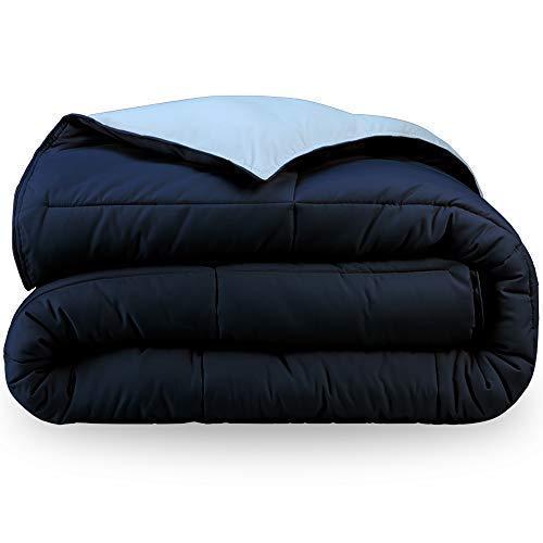 Bare Home Ultra-Soft Premium 1600 Series Goose Down Alternative Reversible Comforter - Hypoallergenic - All Season - Plush Fiberfill (Full/Queen, Dark Blue/Light Blue)