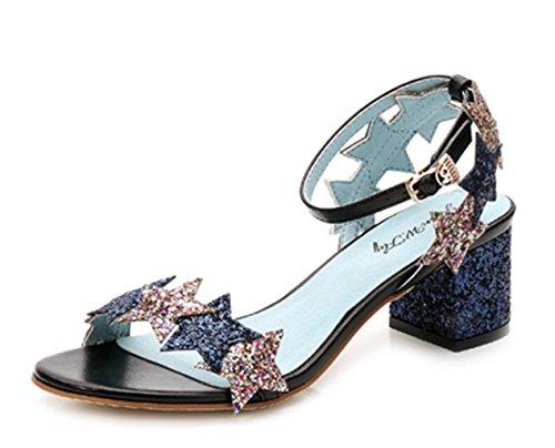 HETAO Persönlichkeit Glitzer Elegant Strappy Sequins Star Blue Schwarz Pinkhigh Ferse Sandalen, 34 Geschenk Des Mädchens