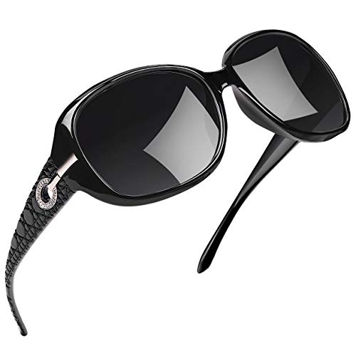 Joopin Polarized Sunglasses for Women Vintage Big Frame Sun Glasses Ladies Shades (Black Simple package, Black) (Polaroid Glow In The Dark)