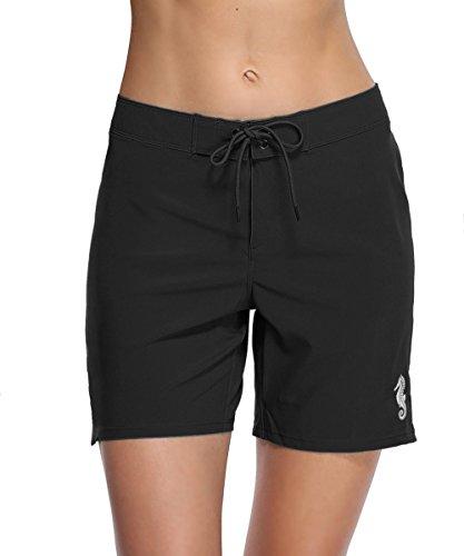 eulo Women's Solid Boardshorts Swim Shorts Multipurpose Stretch Sport Trunks Black XL