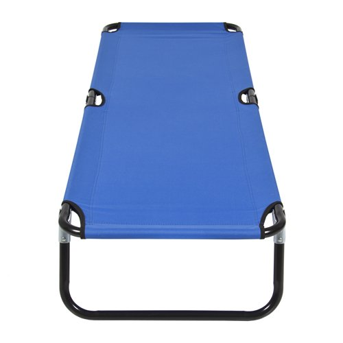 Best Choice Products 74in Portable Folding Camping Cot Guest Bed w/Steel Frame - Blue
