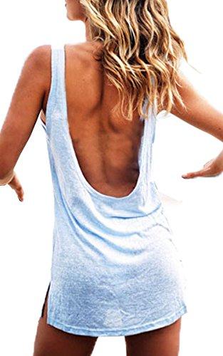 eshion Summer Womens Sexy Open Back Bodycon Mini Casual Party Dresses