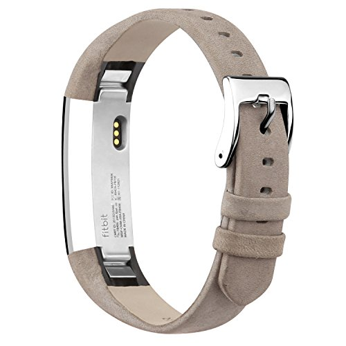 iGK Leather Replacemnt Bands Compatible for Fitbit Alta and Fitbit Alta HR, Genuine Leather Wristbands with Stainless Steel Buckle Matte Grey