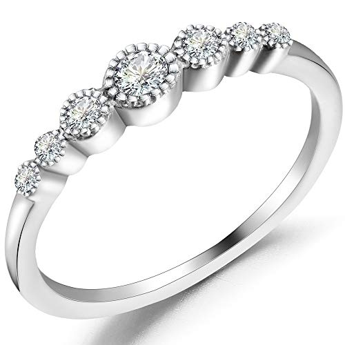 Jude Jewelers Stainless Steel Seven Stone Stackable Wedding Promise Statement Eternity Ring (Silver, 10.5)