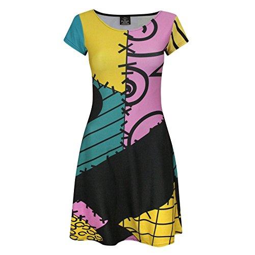 Nightmare Before Christmas Womens/Ladies Sally Costume Dress (L) (Multicoloured) ()