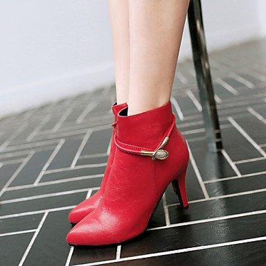 LFNLYX Mujer-Tacón Stiletto-Tacones / Puntiagudos / Botas a la Moda-Botas-Vestido / Casual / Fiesta y Noche-Semicuero-Negro / Rojo / Plata / Red