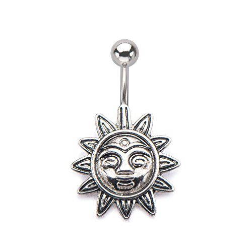 Charm Belly Ring Rings (14GA Smiling Tribal Sun Charm Belly Button Ring in 316L Stainless Steel)