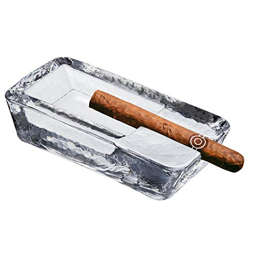 Pasabahce Crystal Glass Heavy Cigar Ashtray for Patio | 2.57 Lbs, Large Handmade, Luxury | Outdoor, Indoor, Home, Office, Hotel, Pool, Restaurant