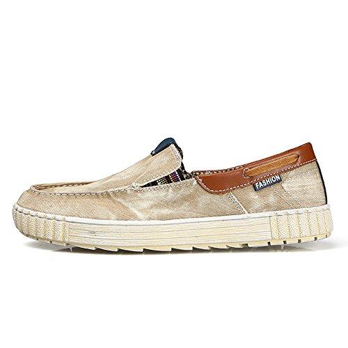 Enllerviid Män Halka På Tillfälliga Kanfasgymnastikskor Komfort Driver Loafers Mode Båt Skor 025 Khaki