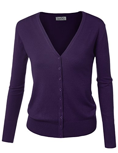 - BIADANI Women Button Down Long Sleeve Soft V-Neck Cardigan Sweater Purple Large