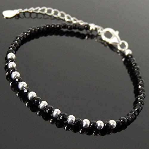 Handmade Adjustable Clasp Bracelet with 3mm Faceted Black Onyx Healing Gemstone Beads for Men's Women's Custom Jewelry, Protection, Genuine S925 Sterling Silver Chain with FREE Gift Box