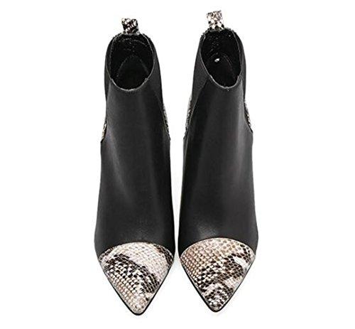 On Pfennigabsatz Spitz Winter Casual Schwarz Büro Size35To40 Stiefeletten Schuhe Leder 41 black Abend amp; Dance Frauen Party Chelsea Slip n8ztq0wxZ