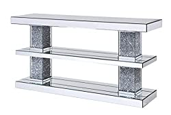 Faux Crystal Accented Console Table with Shelves