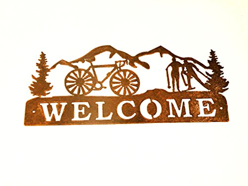 welcome-sign-rusted-rustic-metal-bike-nordic-skier-mts-1475w-x-11h