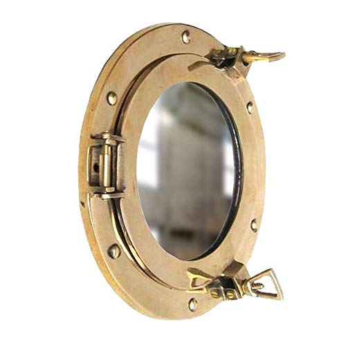 Coastal Space Designs New Solid Brass Porthole Mirror 9
