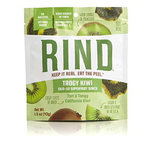 (RIND Snacks Tangy Kiwi Sun-Dried Skin-On Superfruit Snack, High Fiber, No Sulfites, Antioxidants from Vitamin C, Non-GMO, Gluten-Free, 1.5oz Single Serve Pouch, Pack of 6)