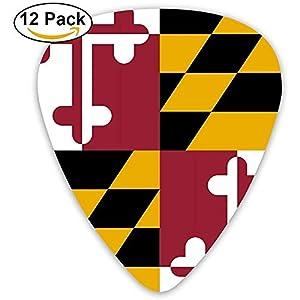 Sherly Yard Maryland Flag Guitar Picks 12er Pack Set Paddel Plektren für Gitarristen