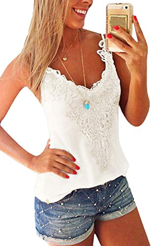 YOINS Women Lace Sexy V-Neck Vest Sleeveless Cami Tank Tops White-Backless Vest Top M
