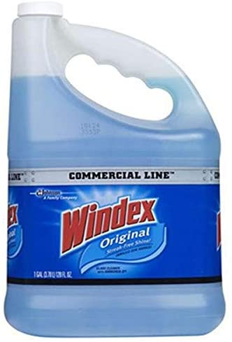 Windex 12207 authentic glass, 128 oz. bottle, blue liquid Commercial line cleaner replenish, 128 Fl Oz (Pack of one)