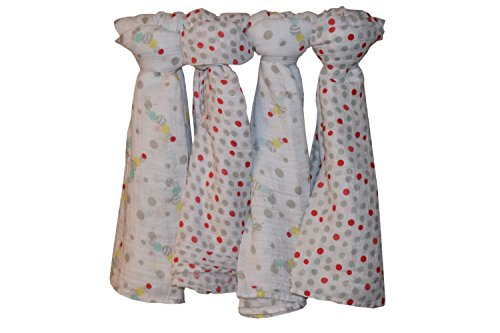Muslin Swaddle Blankets Gift Set | Certified Organic Cotton | Caterpillar & Dots, 4 Count