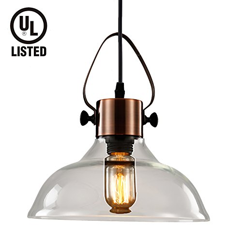 Pendant Light Copper (MSTAR Vintage Pendant Light Glass Shade Edison Copper Finished Hanging Ceiling Light Fixtures Kitchen Bar Restaurnt Lighting)