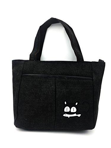 dibujo de gato de Verde Negro ShopINess lona con Bolso qaxwPFzP