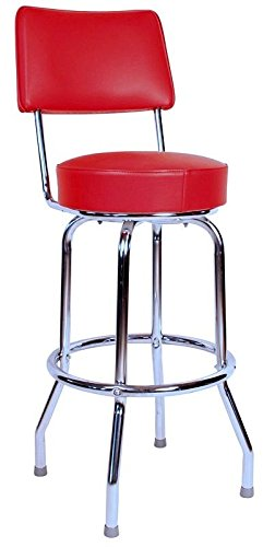 Richardson Seating 0-1957RED Swivel Bar Stool with Back Chrome Frame and Seat, Red, 30