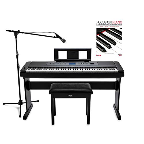 Yamaha DGX-660 88-Key Digital Grand Piano with ATR1200 Microphone, Mic Stand, Knox Flip Top Bench and Focus Piano Book Bundle