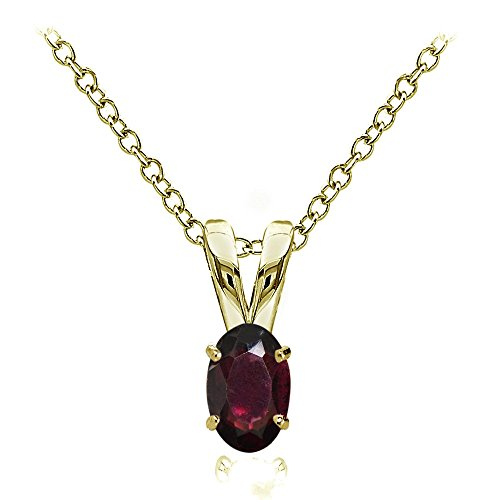 Yellow Gold Flashed Sterling Silver Garnet 6x4mm Oval Solitaire Necklace