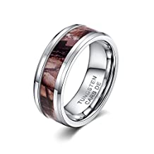 HAMANY 8mm Tungsten Carbide Ring Men's Camo Hunting Camouflage Wedding Band Coffee Leaves
