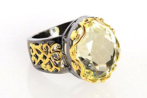 Top Grade Green Amethyst Gemstone 925 Sterling Silver Black Rhodium Gold Plated Ring Sz 5.5 FSJ-629