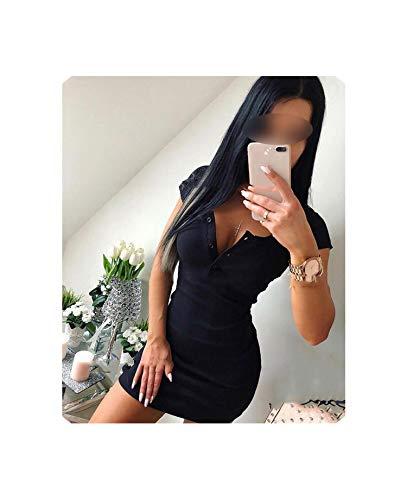 Dress Fall Knit Sheath Mini Solid V Neck Chest Button Bodycon Dress,Black,XL ()