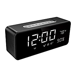 Alarm Clock FM Radio, Wireless Speaker for Bedroom with 8 Large LED Digital Display, Dimmer, Sleep Timer, Snooze, USB Port for Charging, TF AUX Micro SD Card Backup Battery, Orionstar