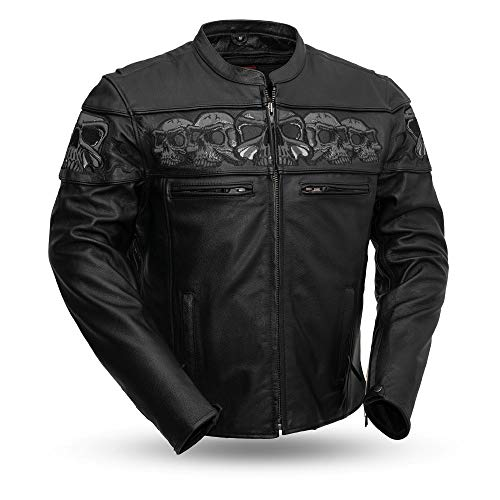 Sporty Scooter Jacket - First Manufacturing Men's Sporty Scooter Jacket with Reflective Skulls (Black, Large)