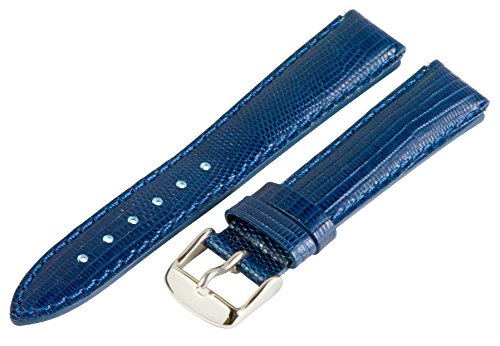 Blue Lizard Strap (18mm x 15mm Leather Classic Lizard Navy Blue Interchangeable Watch Band Strap Fits Philip Stein Small)