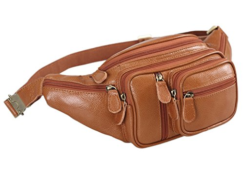 Polare Men's Natural Leather Fanny Pack Waist Bag Brown Large by Polare (Image #1)