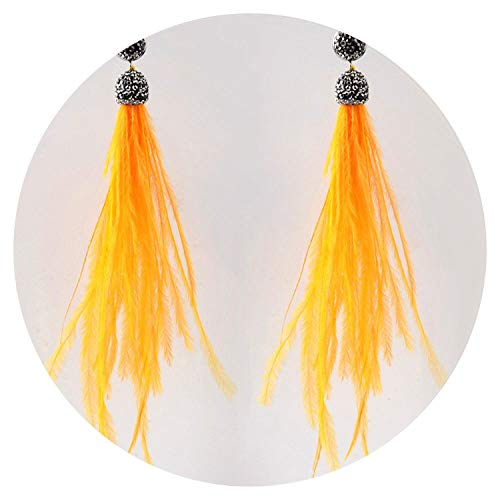 (Bohemian Genuine Ostrich Feather Earrings Long Crystal Tassel Dangle Drop Earrings Jewelry For Women,Yellow)