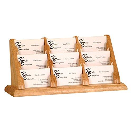 Holder Oak Business Card - Wooden Mallet 9-Pocket Countertop Business Card Holder, Light Oak